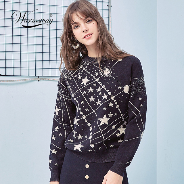 רטרו Galaxy כוכב דפוס סוודר נשים בציר ארוך שרוול מגשרי 2020 סתיו חורף גבירותיי אקארד סוודרים סוודרי C 285