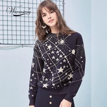 Retro Galaxy Stern Muster Pullover Frauen Vintage Langarm Jumper 2019 Herbst Winter Damen Jacquard Pullover Pullover C-285