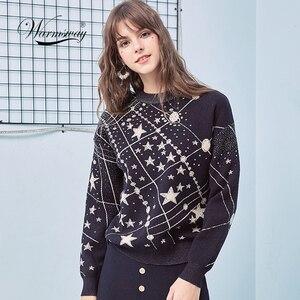 Image 1 - Suéter Retro con estampado de galaxia y estrellas para mujer, jerséis de manga larga Vintage, jerséis de Jacquard para mujer, C 285, Otoño e Invierno 2020
