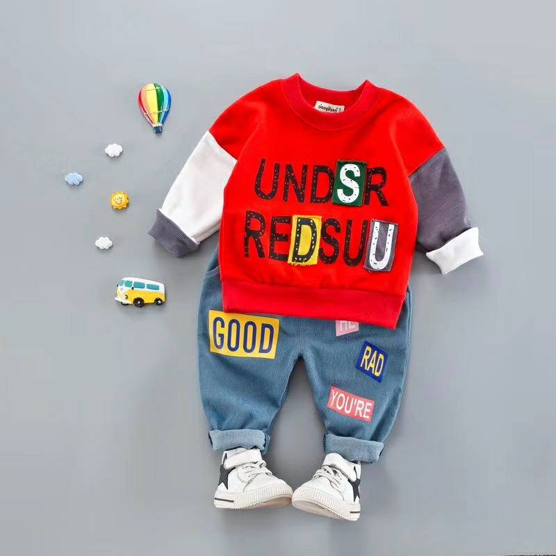 Kids Toddler Boy Girl Letter Clothing Sets Children Hot Sale Brand Boy Fashion Different Color Sleeves T shirt + Jeans Outwear new hot sale 2016 korean style boy autumn and spring baby boy short sleeve t shirt children fashion tees t shirt ages