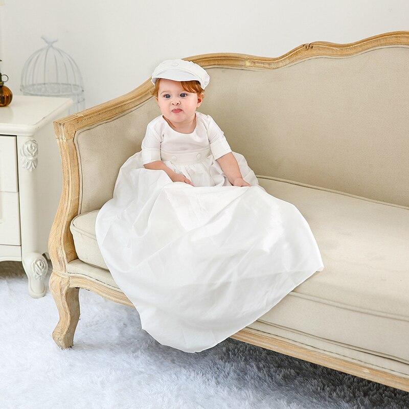 Robe de baptême avec Bonnet robe de baptême longue blanche vêtements de douche de bébé filles garçons vêtements de premier anniversaire robe de baptême