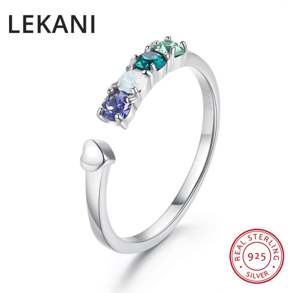 LEKANI Brand Colorful Beads Crystals From Swarovski Real S925 Silver Open Rings Resizable Gold Color Jewelry For Women Wedding