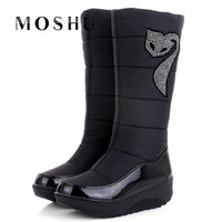 Fashion Snow Winter Women Boots Warm Crystal Animal Prints Waterproof Down Wedges Mid Calf Boot Zapatos