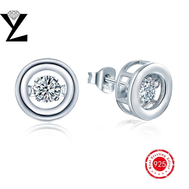 New Arrival!2016 Hot Sale 925 Sterling-Silver-Jewelry Stud Earring for Women with Gold Plated Dancing CZ Diamond Silver Earrings