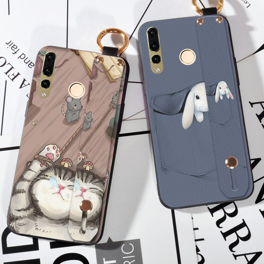 rabbit cat tpu case for huawei mate 20 pro P30 P20 pro nova 4 3 3i honor 10 7A pro Y6 prime 2018 case cover wristband holder sof in Fitted Cases from Cellphones Telecommunications