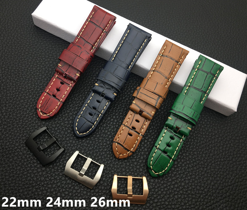 Brand quality 22mm 24mm 26mm Red Brown Blue Green retro bamboo Calf Leather Watchband for PAM441 for Panerai strap watch band(China)