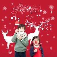 Bardzo Duże Płatki Śniegu Boże Narodzenie Łosie Jelenie Dawida Naklejki Ścienne Drzewa Boże Narodzenie Sklep Okna Szklane Twórcze Wystrój Plakat Na Ścianie Sztuki