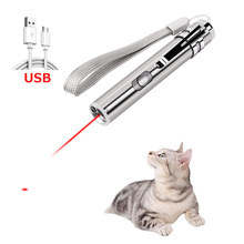 Cat Chaser Toys 2 in 1 Multi Function Funny Cats Laser Toy Interactive USB Rechargeable LED Light Pointer Exercise Training Tool(China)