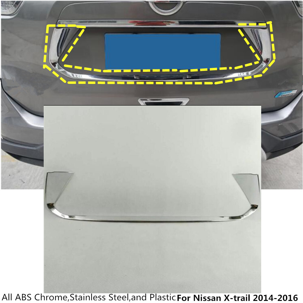 Car detector ABS chrome back Rear license frame plate trim Strip bumper hoods For Nissan X-trail xtrail T32/Rogue 2014 2015 2016 abs chrome door stereo speaker ring cover fit for x trail rogue xtrail t32 2014 2015 speaker decoration trim accessories