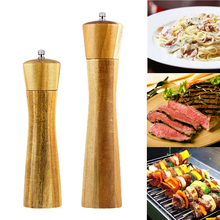 2 sizes Acacia Wood Manual Salt and Pepper Mill For Spices Pepper Grinder Classical Grinding Kitchen Accessories Tool Flat Cover