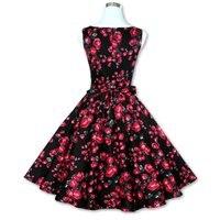 Hot Sales Stijlvolle Dame Vintage 50 s 60 s Bloemenprint VestidoSleeveless Knielange Grote Swing Vestido Vrouwen Casual T-shirt