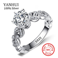 YANHUI 1.5 Carat CZ Diamond Wedding Engagement Rings For Women 925 Solid Silver Female Ring Jewelry Wholesale R024
