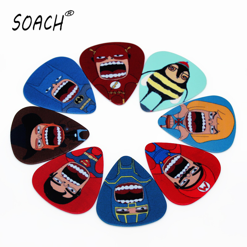 soach 10pcs 0 46mm guitar paddle blue background personality mixed pattern pvc double sided printing instrument accessories SOACH 10pcs 0.46mm Classical guitar paddle double-sided printing animation characters mixed pattern instrument accessories
