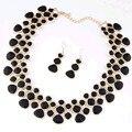 Nuevos Collares Pendientes 2017 Maxi de Color Oro Negro Esmalte Gargantilla Collares Para Las Mujeres Collar Pendientes Establecidas