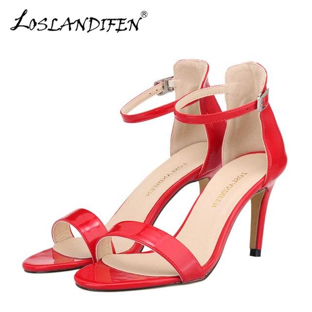 a4db1da2a6dbf3 Loslandifen neue knöchelriemen frauen sandalen casual lackleder roten high  heels schuhe offene spitze dame sommer sandale