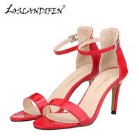 Loslandifen nowy pasek stawu skokowego kobiety sandały dorywczo skóry lakierowanej czerwone buty na obcasie buty open toe pani lato sandały sandalias mujer