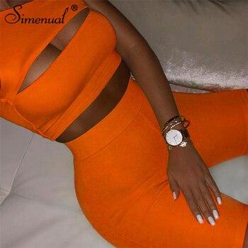Simenual, неоновый цвет, Женский комплект из двух предметов, повседневные спортивные костюмы на одно плечо, укороченный топ с вырезами и байкерские шорты, комплекты, спортивная одежда для активного отдыха