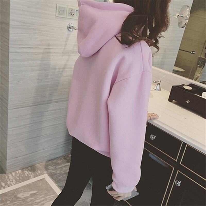 Hooded Tops Women's Sweatshirt Long-Sleeved Winter Velvet Thickening Coat 6