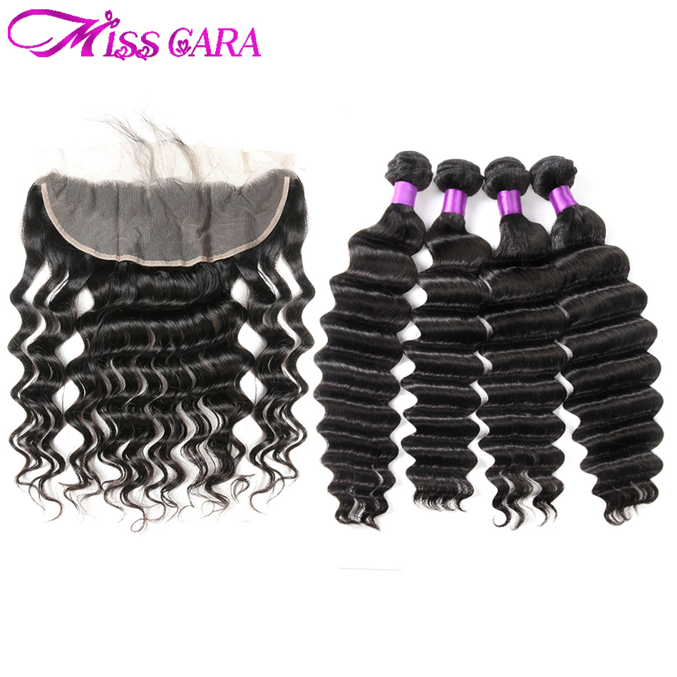 Indian Loose Deep Lace Frontal Closure With 3/4 Bundles More Wave Remy Human Hair Bundles With Frontal Miss Cara Human Hair