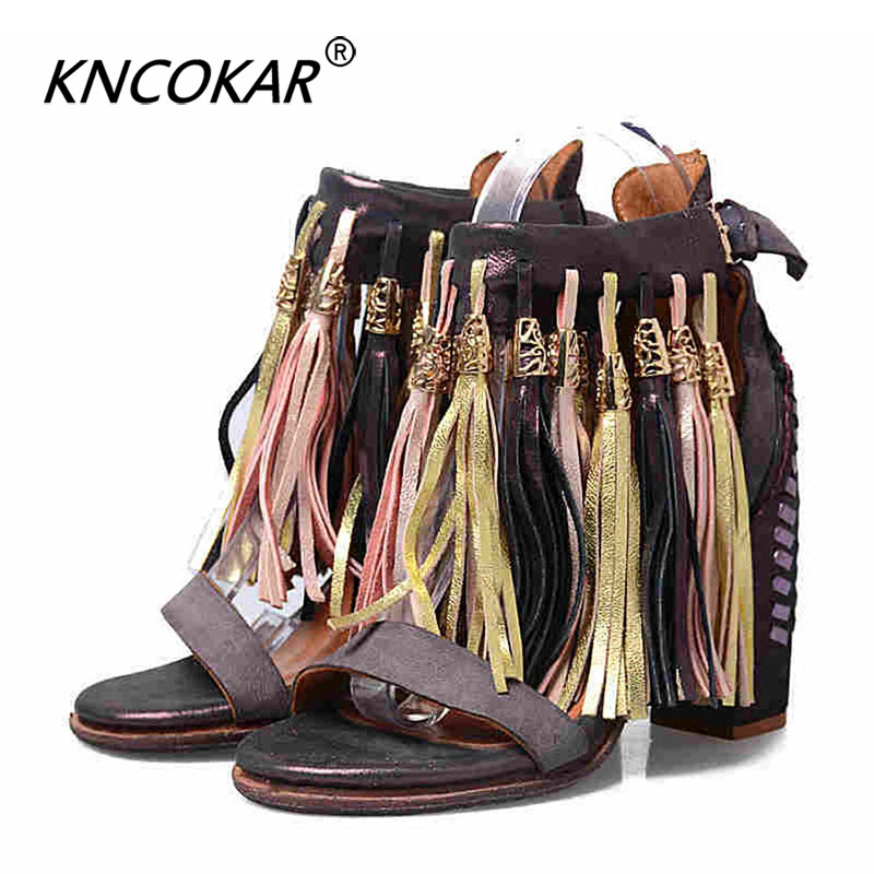 KNCOKAR Summer New National Style Open Toe High Thick With Fringed Sexy Leather Roman Women's Sandals Big Size