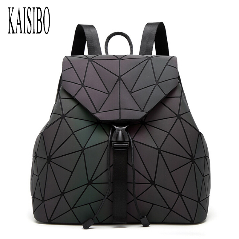 KAISIBO Women Luminous Backpack Female PU Travel Shoulder Folding Bag geometric School Bags For Teenage Girls Backpacks Mochila women laser backpack geometric shoulder bag student s school bag luminous backpack laser sequins folding bags daily backpacks
