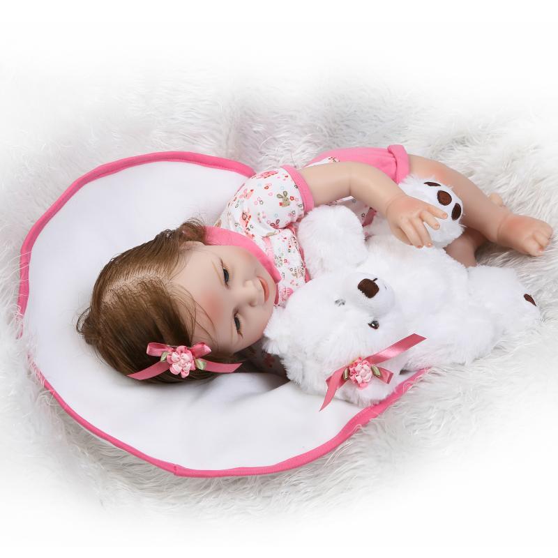 22/55cm Cloth Body Girl Boy Doll Reborn Silicone Vinyl Reborn Baby Doll Gift bebe reborn silicone