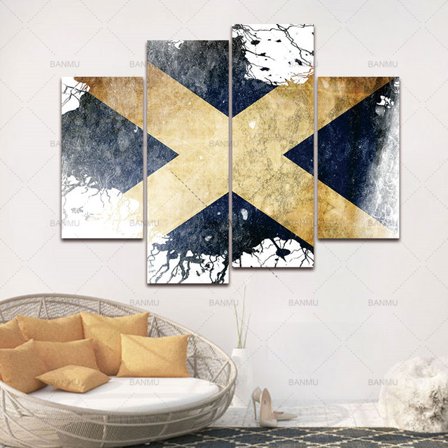 BANMU Flag Of Scotland In White And Blue Wall Art Painting Pictures ...