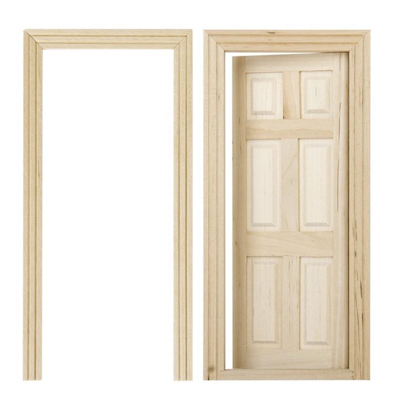 1/12 Dollhouse Miniature 6 Panel Interior Wooden Door DIY Wood Color