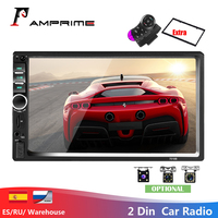 AMPrime 7018B Double 2 Din Car Video Player 7'' Touch Screen Multimedia player MP5 Player USB FM Bluetooth With Rear View Camera