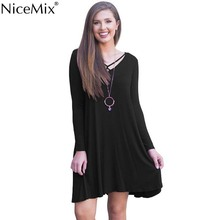 NiceMix 2019 V Neck Sexy Dress Womens Long Sleeve Casual Swing Hem V-Neck Dresses With Pockets Vestidos NEW Fashion