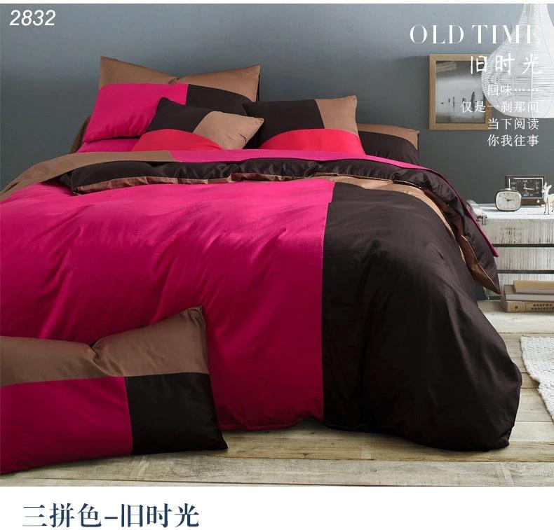 Red Black Brown 3 Triple Color 3pcs Bed Set 4pcs Bedding Set Cotton 40 S Yarn Bed Linens Bedclothes Bedspread Duvet Cover 2832 Linen Comforter Cover Linen Sofa Coverscover Nissan Aliexpress
