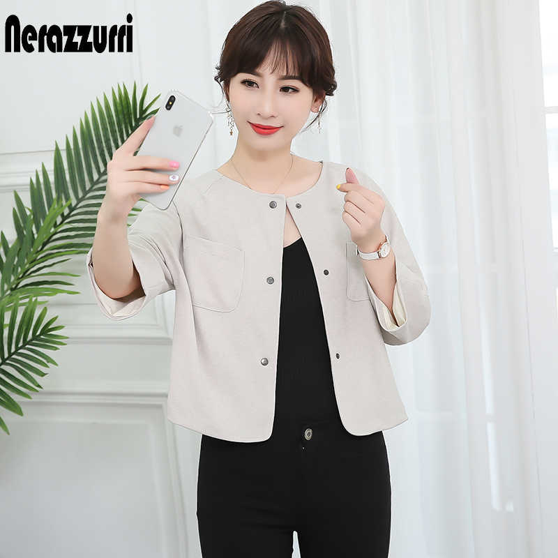 Nerazzurri Beige spring jacket women 2019 elegant casual plus size short ladies jackets raglan sleeve autumn slim woman clothes