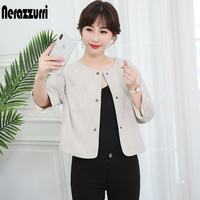 Nerazzurri Màu Be Áo khoác mùa Xuân Nữ 2019 thanh lịch cổ Plus kích thước ngắn nữ áo khoác Áo RAGLAN tay thu Slim người phụ nữ quần áo