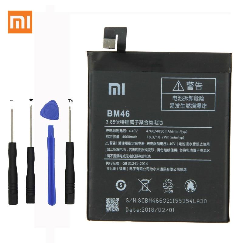 Xiaomi Original bateria Do Telefone Para Xiaomi Redmi Nota note3 3 BM46 Pro/Prime 4000 mah