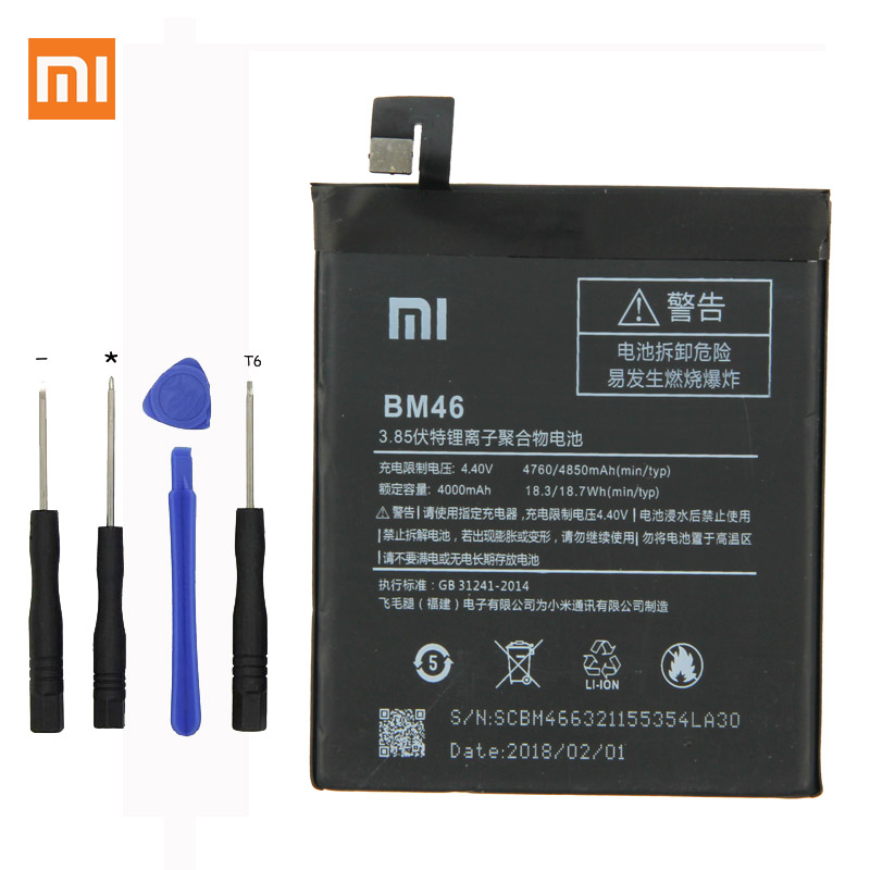 Xiaomi Original BM46 Phone Battery For Xiaomi Redmi Note 3 Note3 Pro/Prime 4000mAh