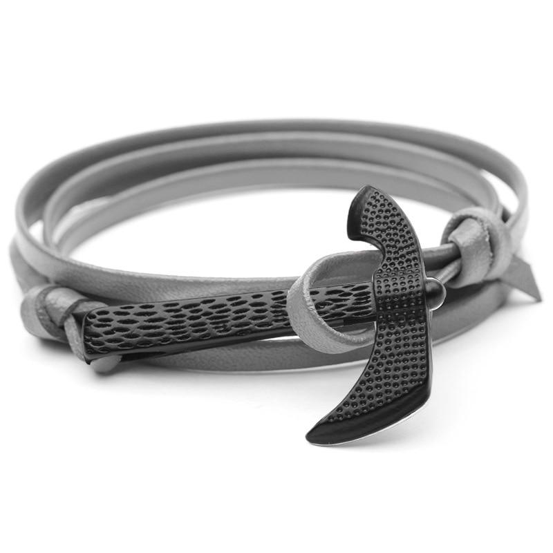 Bracelet en cuir couleur noire grande hache Viking 4