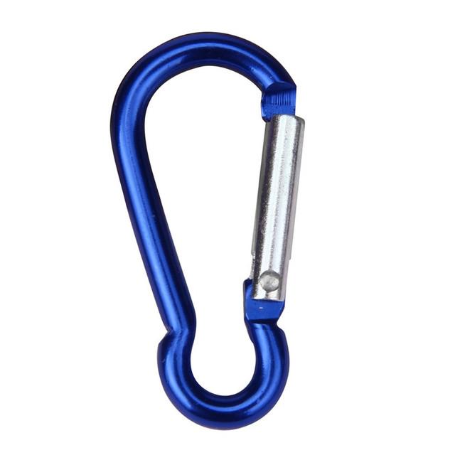 2pcs Aluminum Alloy D Carabiner Spring Snap Clip Hooks