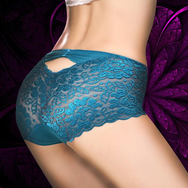 Sexy Large Women Underwears Transparent Bow Lace Lingerie   Panties   Plus Size Middle Waist Briefs Female Fancy Shorts Underpants