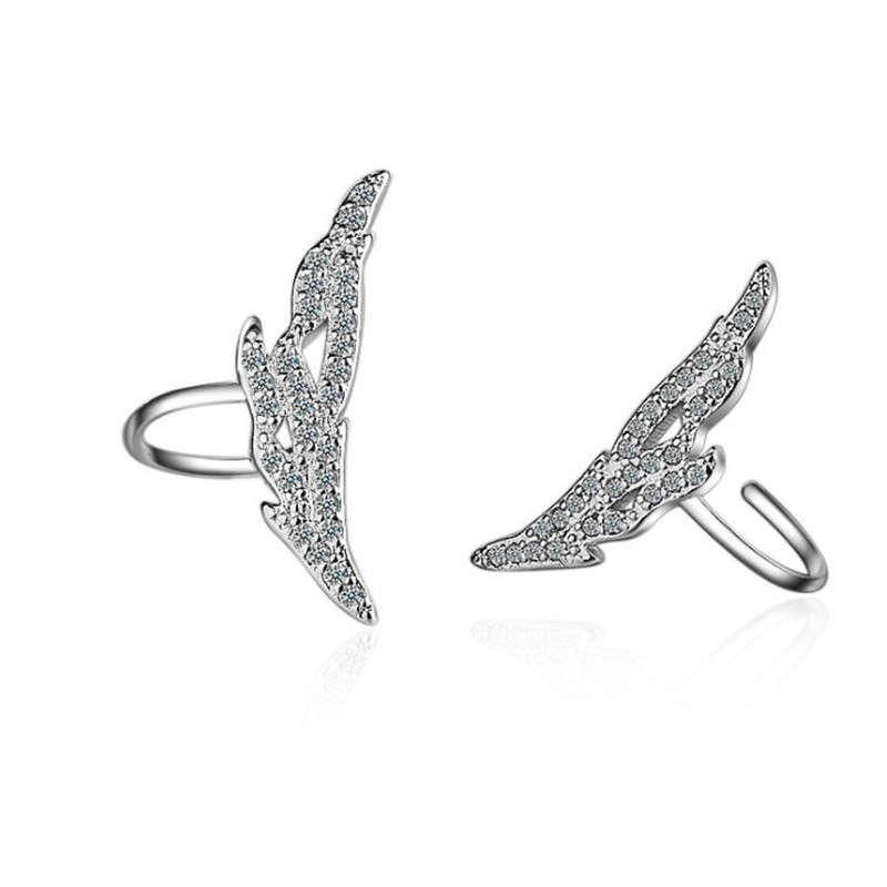 Clip Earrings Honesty Wing Ear Clip Female Without Ear Hole Earrings Crystal Temperament Simple Sen Department Korean Version Eh209 New Varieties Are Introduced One After Another Earrings