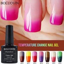 Hybrid Thermo Nail Glitter Gel Varnish Semi-permanent Temperature Change Color Gel Varnishes Soak Off Lucky UV Nail Polish Gel