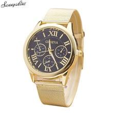 Women Classic Watches Gold Roman Numerals Quartz Stainless Steel Waterproof Wrist Watch wholesale v