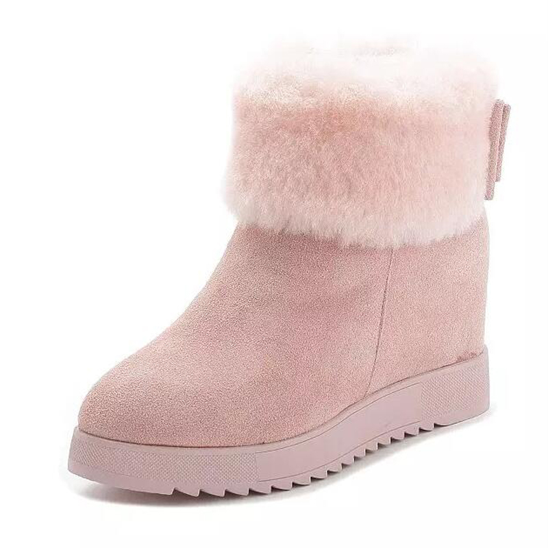 Women ankle boots 2017 thick plush winter shoes genuine leather women snow boots height increasing platform shoes with zipper 2017 women warm boots genuine leather height increasing cut out flat platform short plush women ankle boots