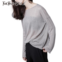 TWOTWINSTYLE 2016 New Base Loose Knitted T Shirts Large Size Women Long Sleeve Black Gray