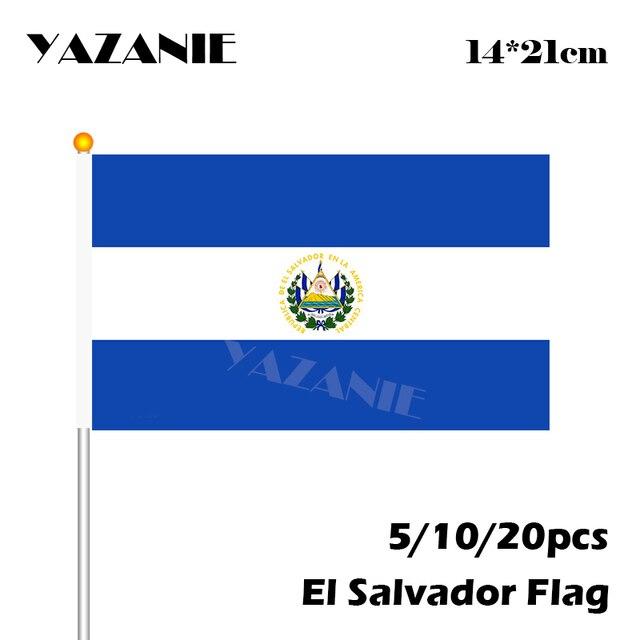 Yazanie 14*21 Cm 5/10/20 Pcs El Salvador Hand Held Tongkat Kain Bendera dengan Tiang menyerahkan Bendera Gelombang Spanduk Kecil Bendera Nasional