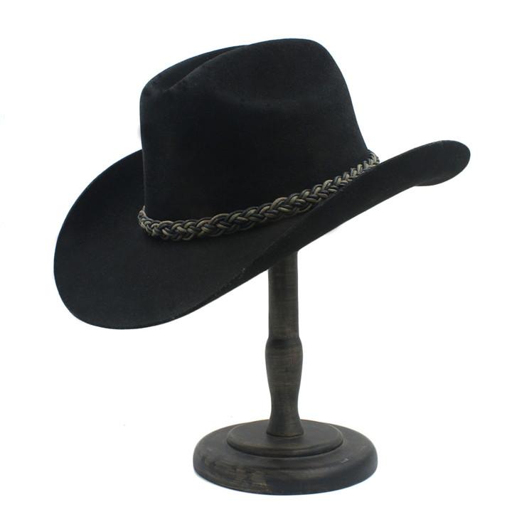100% Wol Wanita Pria Berongga Topi Koboi Pria Merasa Cowgirl Western ... d73218af30