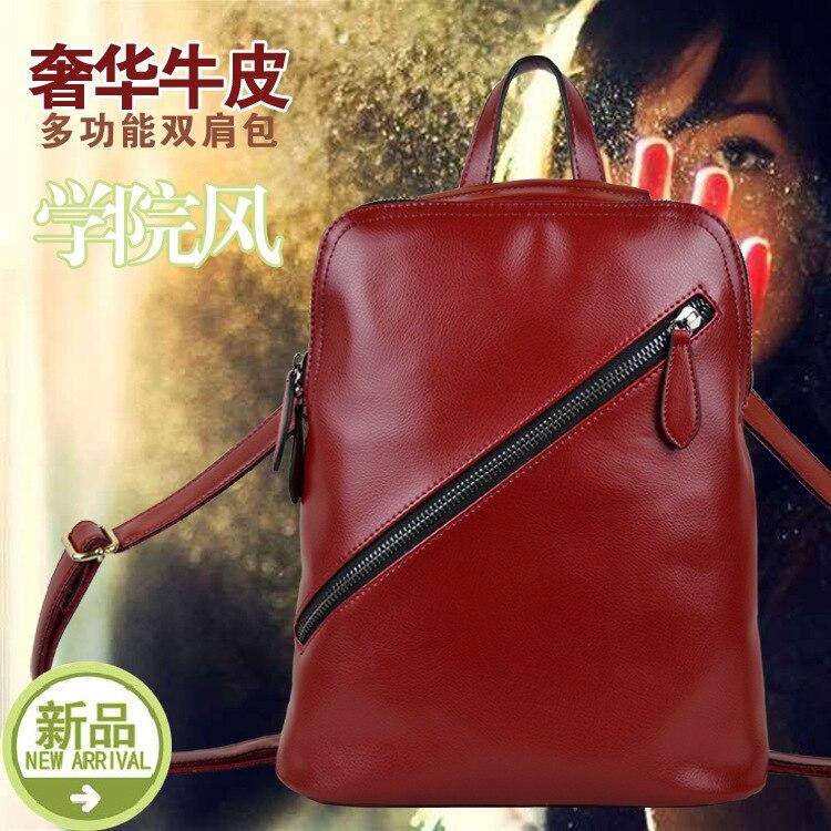Новый 2017 натуральная кожа воловьей кожи женская рюкзак конфеты цвет женские сумки на ремне, бренд дизайн, натуральная кожа женщины рюкзак