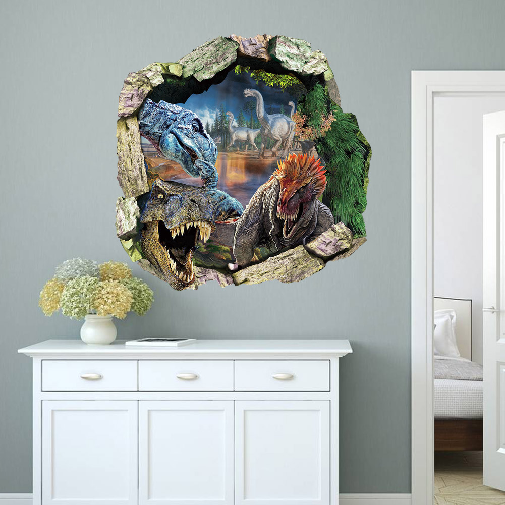 3d dinosaurs through the wall stickers jurassic park home 3d dinosaurs through the wall stickers jurassic park home decoration zooyoo1439 diy cartoon kids room wall decal amipublicfo Image collections