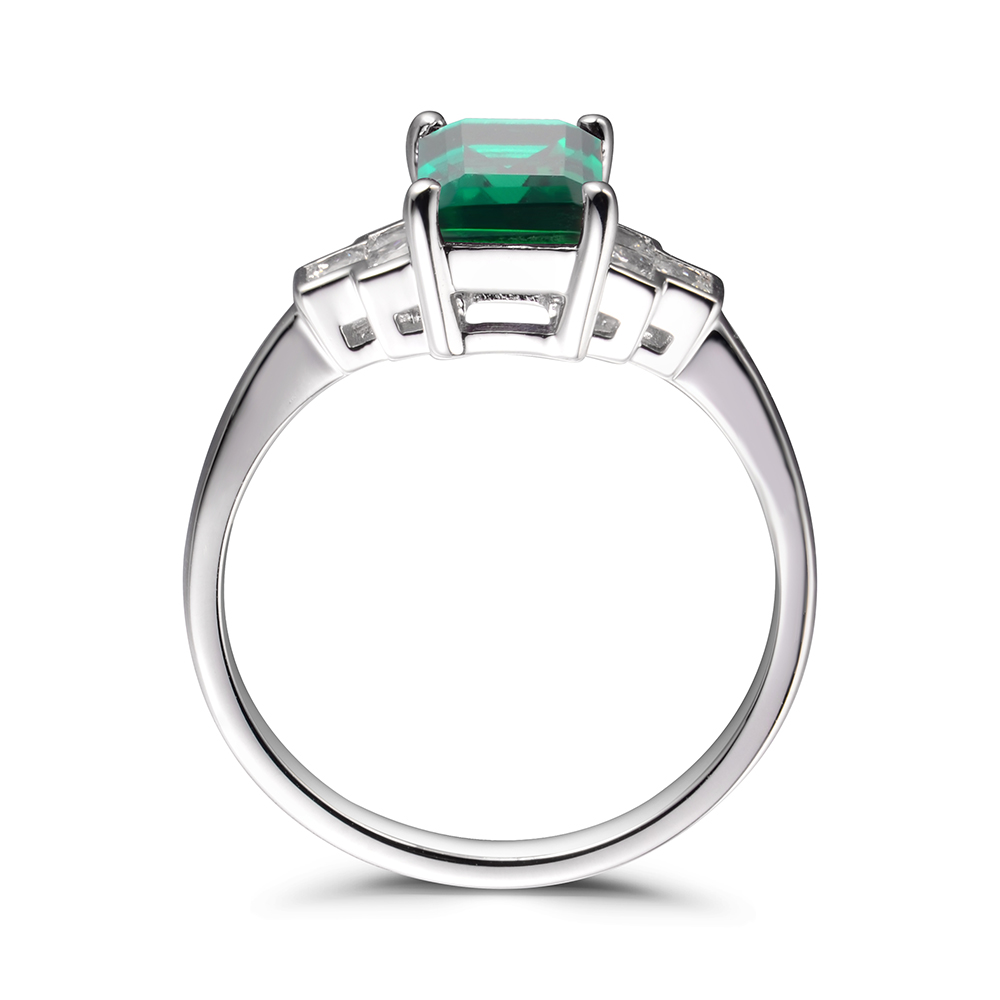Leige Jewelry Vintage Emerald Rings Anniversary Rings May Birthstone Green Gemstone 925 Sterling Silver Wedding Gifts for Women