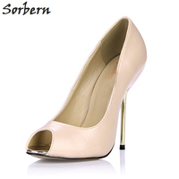 Sorbern Nude High Heel Pumps Women Shoes Metal Gold Stiletto Heels Peep Toes Slip On Pump
