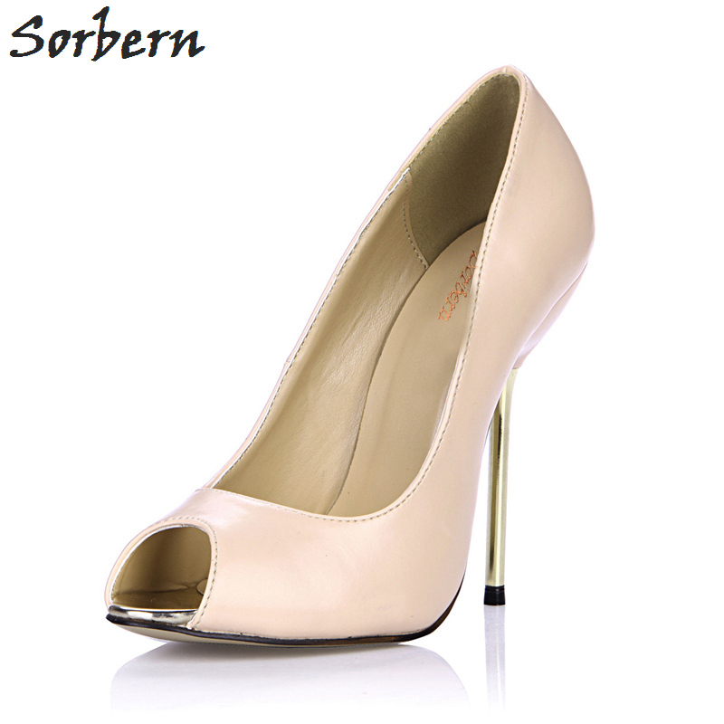 Sorbern Nude High Heel Pumps Women Shoes Metal Gold Stiletto Heels Peep Toes Slip On Pump Shoes Zapatos 2018 Custom Colors пуховая куртка lebek